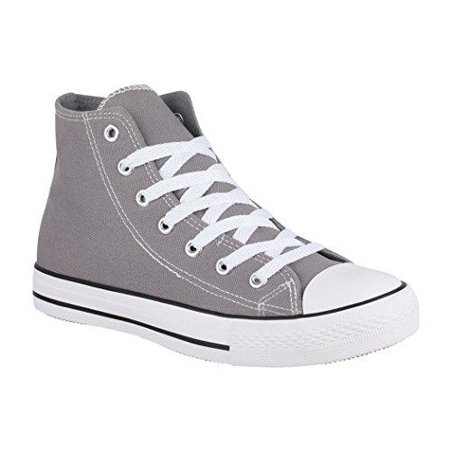 Elara Unisex Sneaker | Bequeme Sportschuhe für Damen und Herren | Low top Turnschuh Textil Schuhe 014-A XG201 Gun-37