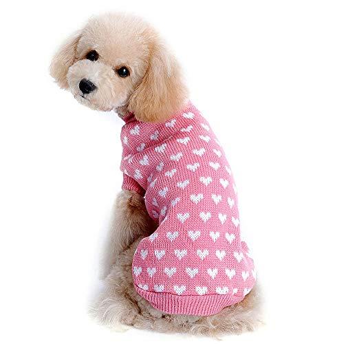Strickpullover für Welpen, Hunde, Katzen, Strickpullover, Vintage, kariert, Herzmotiv, atmungsaktiv, gehäkelt, gestrickt, für kleine Haustiere, Welpen, Kätzchen, Kaninchen, Winter, 2X-Large, Rose -