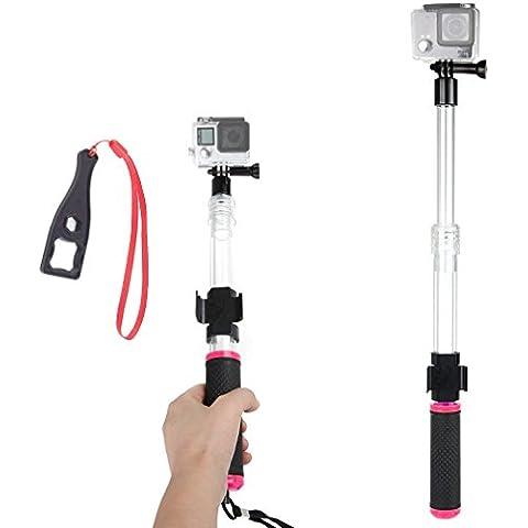 First2savvv rosado Transparente Material del flotador extensión flotante Extensible selfie Polo Monopod con el clip de montaje remoto para Hero 4. Hero 3+.Hero4 Session.Hero3. Hero 2. Hero 1.Xiaomi Yi. SJCAM SJ5000. SJ4000 - GO-GAN-A02BS + Llave Llave