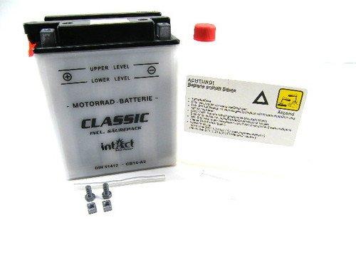 intAct Motorradbatterie 51412 12V 14Ah 140A CB14-A2 +SP