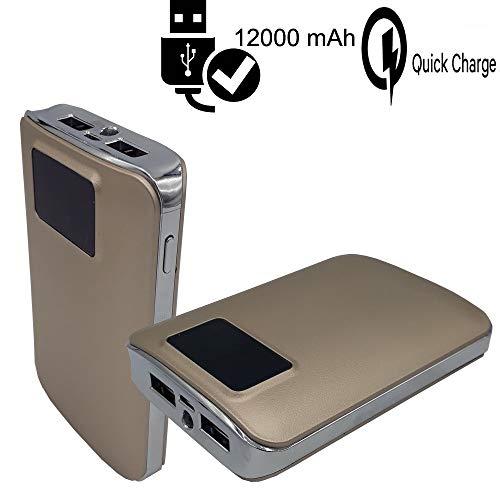 CEKA TECH Motorola Moto X Force Compatibile, Caricabatterie Portatile 12000mAh, Batteria Esterna 2 Porte USB, con Display Digitale LCD e LED, Torch Power Bank