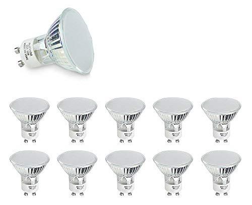 Minisun - pack di 10 lampadine led gu10 potenti e durevoli, di vetro satinato, da 3w, a risparmio energetico - 3000k (bianco freddo)
