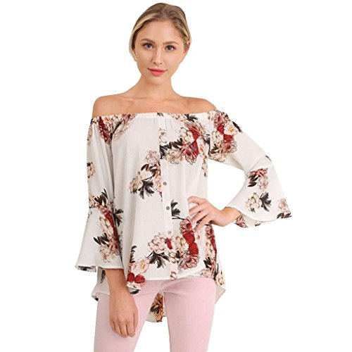 Damen Tops ,LMMVP Frauen Lange Hülse Weg Vom Schulter Blumen Gedrucktes T-Shirt (XL, White) (Hülle Ärmelloses Gedruckt)
