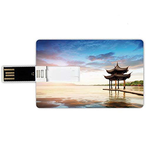 USB-Sticks 32GB Kreditkartenform Alte China-Dekorationen Memory Stick-Bankkartenstil Traditioneller Pavillon durch den Seeruhsamen Sonnenuntergang-entspannenden Blick,Mehrfarben Wasserdichte stift dau