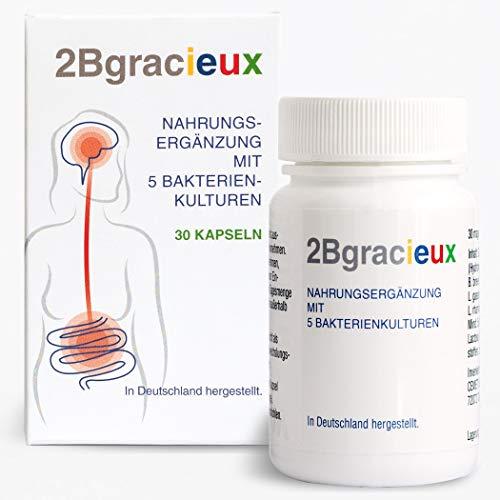 2Bgracieux Nahrungsergänzung Kapseln, Programm zum Abnehmen mit Auswahl hochdosierter Darmbakterien, Darmflora unterstützt bei Gewichtsreduktion, 100% vegan, 30 Kapseln