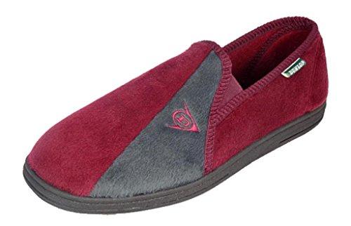 Da uomo famoso Dunlop Winston II Pantofole con soletta imbottita Super Comfort, (Burgundy/Grey), 44