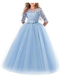 111f0e1844 besbomig Cordón Boda Vestido de Princesa Mangas Piano El Rendimiento  Escolar Disfraces Vestidos para Niñas de