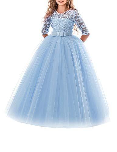 besbomig Spitze Hochzeit Prinzessin Kleid Ärmel Klavier Schule Leistung Kostüme Kleider für Mädchen 5 bis 13 Jahre altes Mädchen (Disney Princess Kostüme)