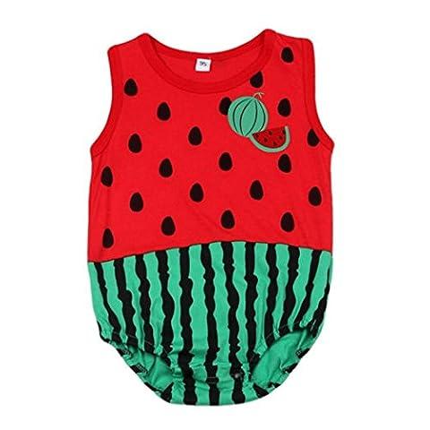 Bekleidung Longra Schöne Neugeborene Kinder Baby Junge Mädchen Baby Strampler Overall Bodysuit Outfit Sommer ärmellos Kleidung (0 -12 Monate) (80CM 0-3 Monate, Red)