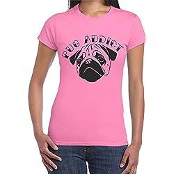 Camiseta color rosa para mujer de perro carlino Addict T
