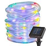 12M 100 LED Solar Lichtschlauch, Garten Dekoration im Freien wasserdichte Kupferdraht Schnur Weihnachtslampe Hochzeit Party Baum Weihnachten Dekoration Xmas (Farbe)