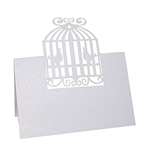 Pixnor 50 Stück Vogelkäfig Perle Elfenbein Tabelle Name Ort Karte Einladungskarte Hochzeit Party Tischdekoration