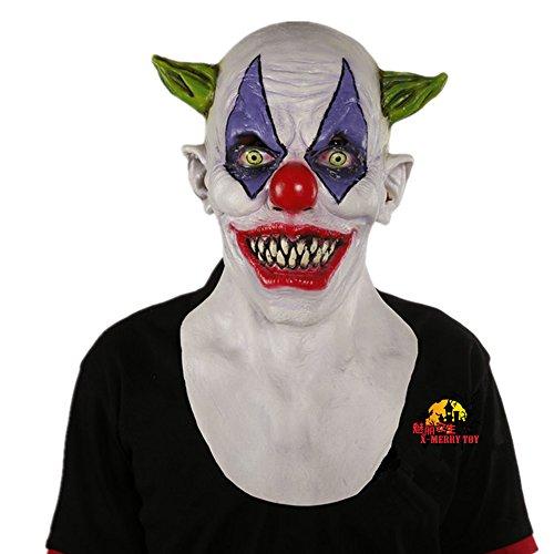 Halloween Clown böse Kostüm Latex-Maske - Grüner gehörnter clown (Beängstigend Böse Clowns)