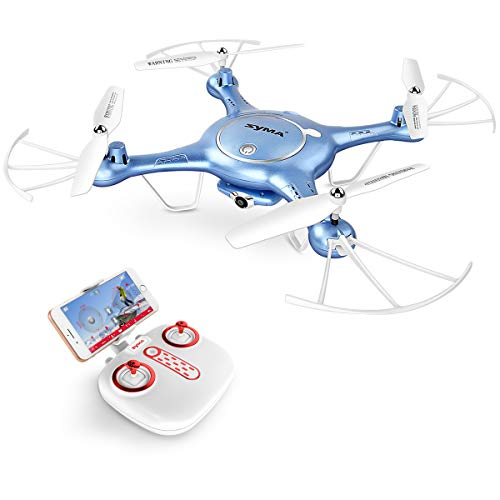 DoDoeleph Syma X5UW FPV WiFi RC Drohne Quadcopter mit HD Kamera Live Video Handy/App Ferngesteuert Steuerung Drone für Kinder(Blau) (Blau)