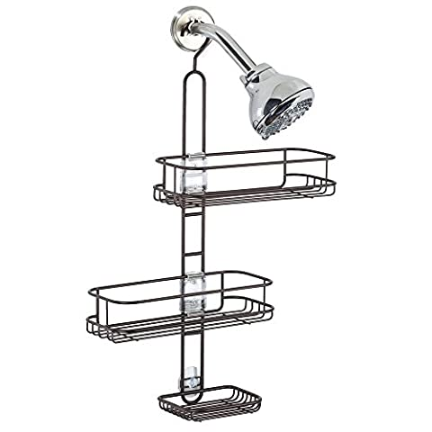 InterDesign Linea Adjustable Bathroom Shower Caddy, Bronze