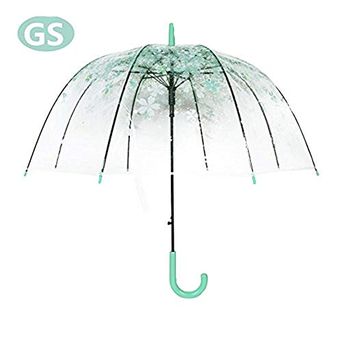 Kreative Schirm Regenschirm Transparente Pilz Frische PVC Bubble Regenschirm (Moosgrün Kirschblüten)