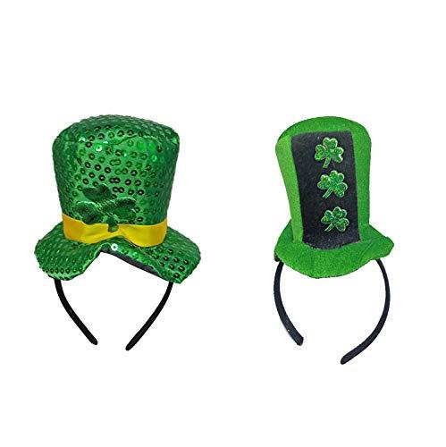 Fairy Baby 2-Pack St. Patrick´s Day Stirnband Irish Kleeblatt mit Paillettenkopf-Boppern Size 13 * 29CM (Klee)