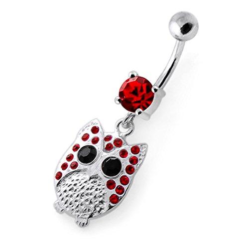 Pierre en cristal Owl tendance Design 925 Sterling Silver ventre bar Red