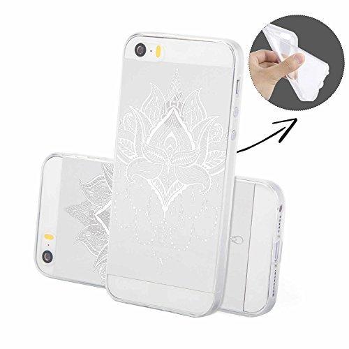 FINOO | Silikon-Handy-Case für iPhone 5 / 5S | weiche, transparente, flexible Silikon-Handy-Hülle mit verschiedenen modernen Motiven für Apple Smartphone | Newton Henna Kronleuchter weiß