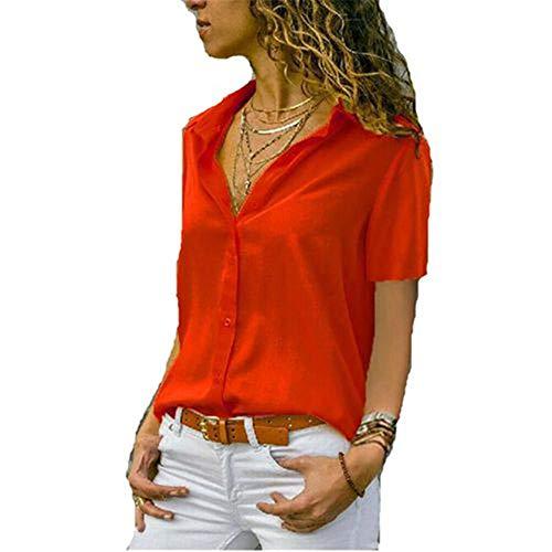 Yubaoer Frauen Sexy Sommer Beiläufige Chiffon V-Ausschnitt Langarm Loses Hemd Bluse Tops Frauen Casual Floral Bedruckte Ärmellose Tunika Bluse Sommer Tops Rot S -