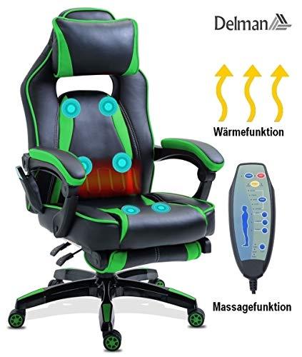 Delman Massage Gaming Stuhl Racing Stuhl Bürostuhl XXL Size Computerstuhl Wärmefunktion Massagefunktion Chefsessel Kunstleder Ergonomisches Design Fußstütze Dicke Polsterung 0297 (Grün)