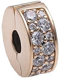 Pandora Damen-Charm Pavé Glanz-Clip gold 585 Weißgold Zirkonia weiß-750842CZ