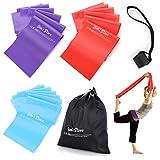 JIM'S STORE Bande Fitness Bande di Resistenza Elastici e Bande con Ancoraggio Porta e Borsa per Yoga Pilates Forza Allenamento Muscolare, 3 Livelli di Resistenza