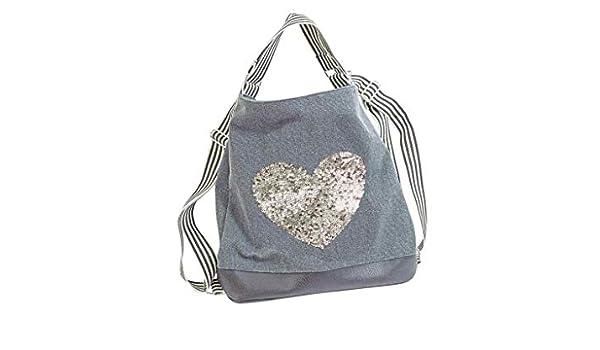 fc5a6feca0734 Tasche Canvas 2 in 1 Rucksack Umhängetasche aus Baumwolle grau Pailletten  Herz  Amazon.de  Schuhe   Handtaschen