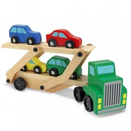 Camion en bois de transport de voitures Jouet en bois Enfants 3 ans + rampe amovible