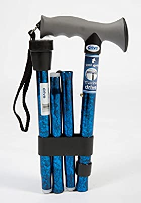 Aquarius Drive DeVilbiss Healthcare Folding Walking Stick. Soft Grip Gel Handle. Folds into 4 convenient parts for easy storage. Hard wearing, non slip ferrule provides stability on various surfaces.