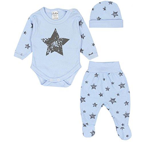 TupTam Baby Kleidung Set Body Strampelhose Mütze Teddybär, Farbe: Graue Sterne...