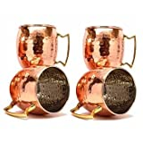Zap Impex® Tazze in rame puro rivestito in nichel, manico in ottone, martellato, Moscow Mule, 455 ml, set di 4
