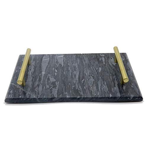 Marmor Serviertablett Teller mit goldenem Griff Display Panel 30x20x5cm schwarz