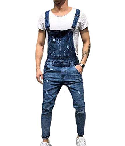 9913b406b9b9 Salopette da Uomo con Jeans, Tuta di Jeans Strappati Moda