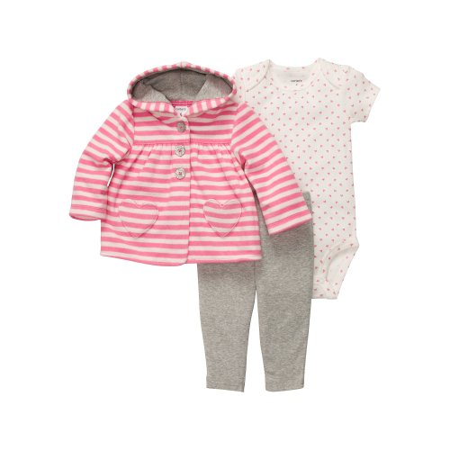 Carter's 3 teilig Jacke Body Hose Baby Mädchen Outfit Kleidung Girl 3 Teile Kapuze (50/56, rosa/grau) Carters Outfit