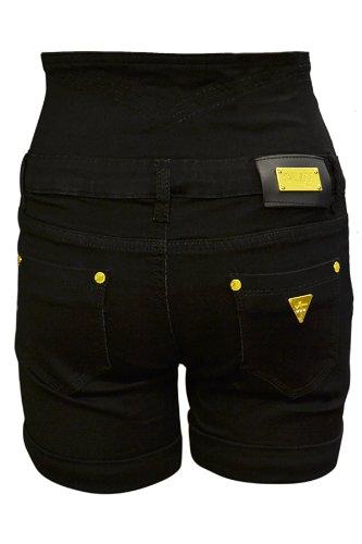 Femmes Été Turn Up taille haute Or Bouton toile de jean Shorts Hot Pants Taille XS S M L XL Noir