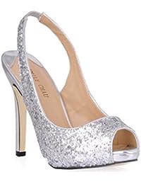 4a405ceadf3 CHMILE Chau-Zapatos para Mujer-Bombas de Tacon Alto de Aguja-Talón  Delgado-Sexy-Novia o Dama-Boda-Nupcial-Vestido de Fiesta-Punta…