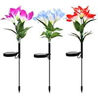 KOUQI LED Solar Lights, Outdoor Solar Garden Stake Lights, 3 Pack Lily Flower Lights, IP65 Waterproof 7 Colors Changing, for Pathway, Yard Decoration, Longer Working Time