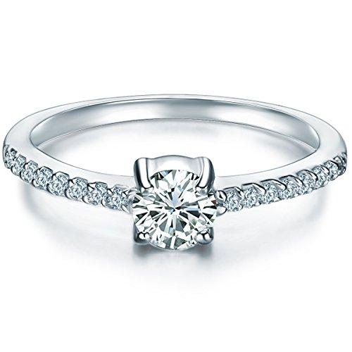ng Sterling Silber Zirkonia weiß im Brillantschliff - Verlobungsring Silberring Damen mit Stein Antragsring ()