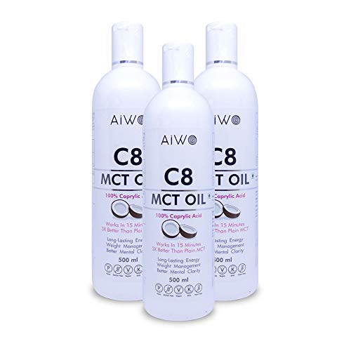 AIWO PURE C8 MCT Oil | 100% Caprylic Acid | 3X More Ketones | Medium Chain Triglycerides | Keto Bulletproof Coffee oil | non-GMO 500 ml