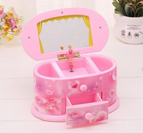 IU Desert Rose Schöne und Kreative Spieldosen Rotierende Ballerina Dresser Music Box mit Schminkspiegel für Kinder Geschenk-Pink