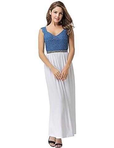Élégant pour femme Long Blanc et bleu Corset en dentelle Paillette Tour de taille pour robe de soirée de soirée Party Dance Club Wear Taille L UK 10–12–EU 38–40