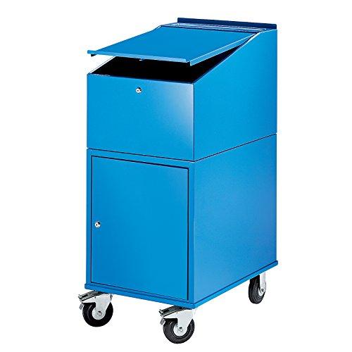 EUROKRAFT Rollpult - mit Schrank inkl. 2 Fachböden - Farbe lichtblau RAL 5012 - Arbeitspult...