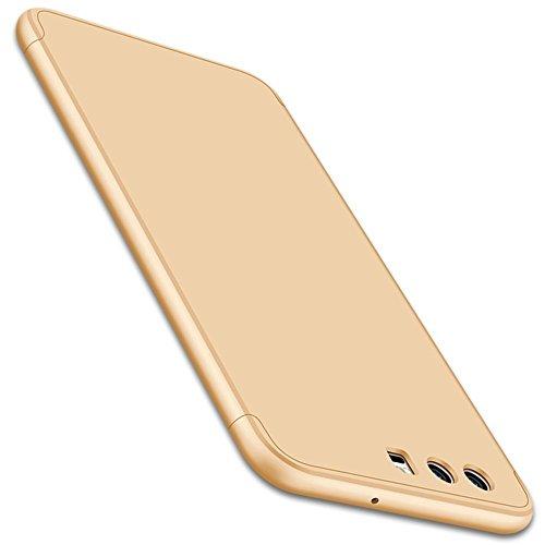Vanki® Coque Huawei P10 / Huawei P10 Plus, Ultra Rigide Léger 360 Case Degres Souple 3-en-1 PC Récurer Protector Shell pour P10/P10 Plus D'or