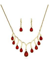 5699720ec8cd Scrox 2pcs Juego de Joyas Mujeres Elegante Novia Joyería Conjunto Brillante  Gema roja Colgante Moda Simple Collar…