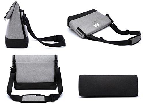 Borsa a Tracolla Uomo - 3 in 1 Borse Messenger a Spalla e a Mano, Crossbody Bag per Lavoro Porta PC Laptop 14 inch Ventiquattrore Impermeabile Retro Universita' Weekend Ufficio Viaggio Unisex (grigio) grigio