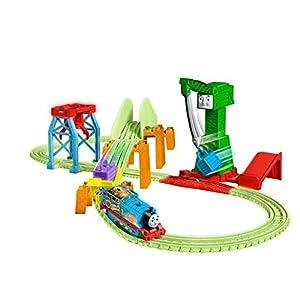 Thomas & Friends GGL75 Trackmaster Juego de Entrega Nocturna Hyper Thomas Motor de Tren motorizado, Piezas de Pista Brillantes, Cranky The Crane
