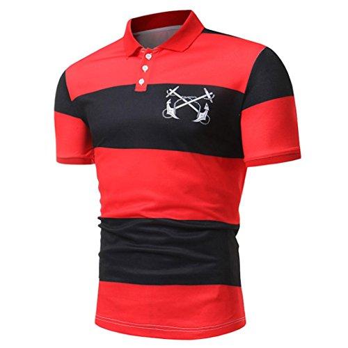 Kanpola Poloshirt Shirt Herren Slim Fit T-Shirt Polohemden Streifenshirt Männer Streifen Kurzarm Polo Shirts Tops (Hemd Soda Streifen)