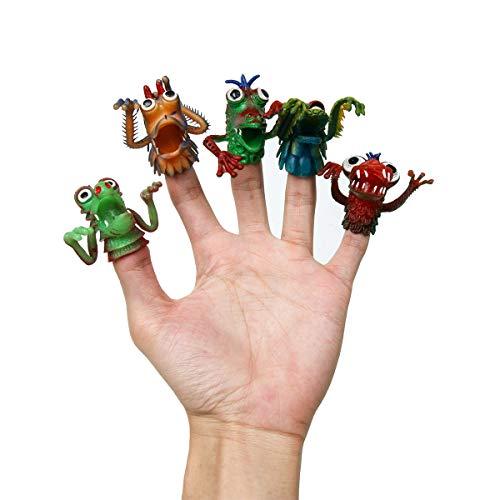 Funhoo 10 Set Monster Fingerpuppen Set Kinder Silikon Untier Mitgebsel Puppe klebrig bunt lustig Handspiel Fingerspiel für Ostern Party Spielen Halloween Puppenshow