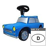 Unbekannt Babyrutscher Rutschauto Trabant in blau Trabi mit Hupe inkl. 1 Autoaufkleber D 17x10,5 cm, Rutschfahrzeug Rutscherfahrzeug Baby-Rutscher (BxHxL): 28 x 28 x 68 cm